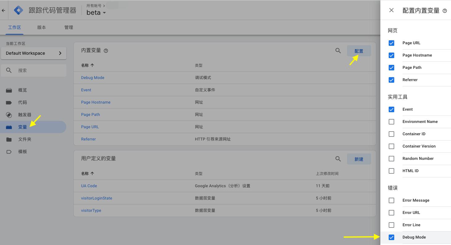 配置内置变量把 Debug Mode 打钩